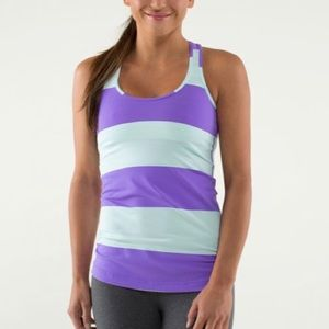 lululemon Cool Purple Teal Striped Racer Back Tank